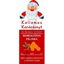 "Homoktövis karácsonyi pálinka címke - ""Santa"""