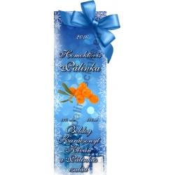 "Homoktövis karácsonyi pálinka címke - ""Xmas blue"""