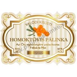 """Homoktövis pálinka címke - """"Golden Age"""""""