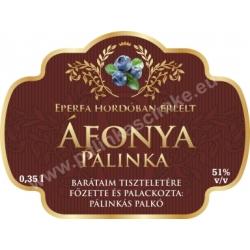 """Áfonya pálinka címke - """"Superb"""""""