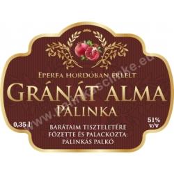 """Gránát alma pálinka címke - """"Superb"""""""