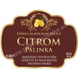 """Citrom pálinka címke - """"Superb"""""""