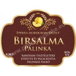 """Birsalma pálinka címke - """"Superb"""""""