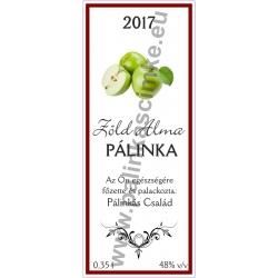 """Zöld Alma pálinka címke - """"Wood"""""""