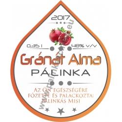 "Gránát Alma pálinka címke - ""Rain"""