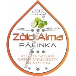 """Zöld Alma pálinka címke - """"Rain"""""""
