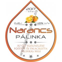 """Narancs pálinka címke - """"Rain"""""""