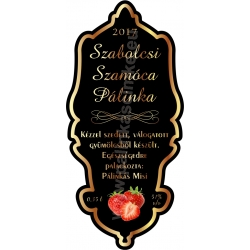 "Szamóca pálinka címke - ""Idea"""