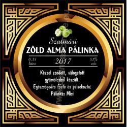 """Zöld alma pálinka címke - """"Gatsby"""""""