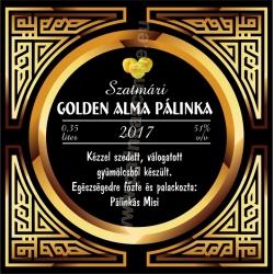 """Golden alma pálinka címke - """"Gatsby"""""""