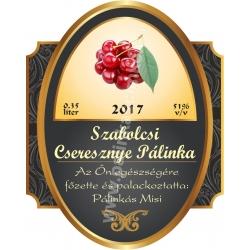 """Cseresznye pálinka címke - """"Elite"""""""