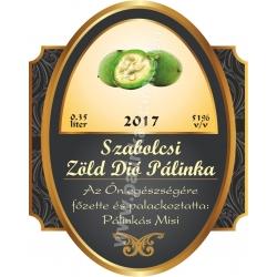 """Zöld dió pálinka címke - """"Elite"""""""