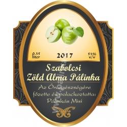 """Zöld alma pálinka címke - """"Elite"""""""
