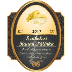 """Banán pálinka címke - """"Elite"""""""