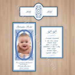 Keresztelőre egyedi fényképes pálinkás címke szett - fiú (Előlap, Hátlap, Nyakcímke) - kék