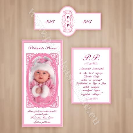 Keresztelőre egyedi fényképes pálinkás címke szett - lány (Előlap, Hátlap, Nyakcímke) - rózsaszín