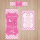 Keresztelőre egyedi fényképes pálinkás címke szett - lány (Előlap, Hátlap, Nyakcímke) - rózsaszín pöttyös