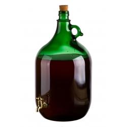 Demizson zöld 5l csapos üveg palack