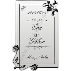 Esküvőre pálinkás címke - homokfúvott fólia