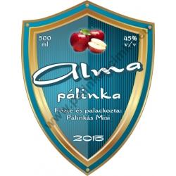 """Alma pálinka címke - """"Blueshield"""""""
