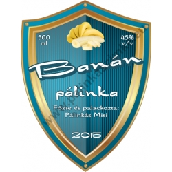 """Banán pálinka címke - """"Blueshield"""""""