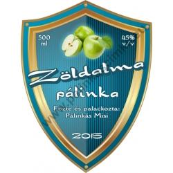 """Zöld alma pálinka címke - """"Blueshield"""""""