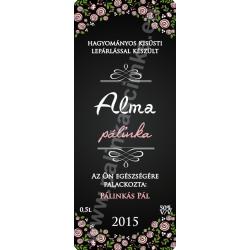 """Alma pálinka címke - """"ROSEGARDEN"""""""