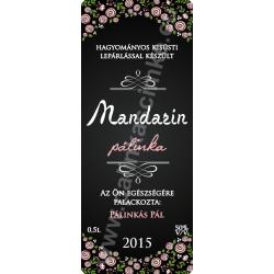 """Mandarin pálinka címke - """"ROSEGARDEN"""""""